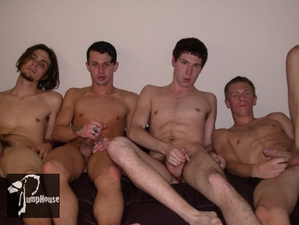 four guys jacking off
