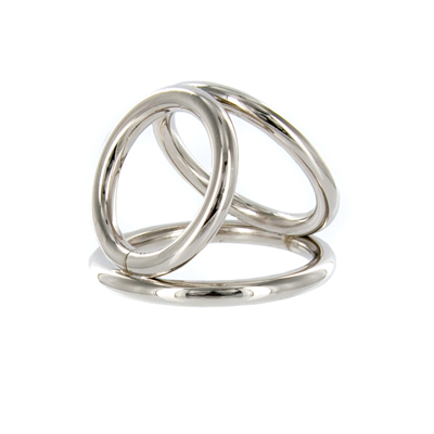 Chrome Triple Cock and Ball Ring- Medium