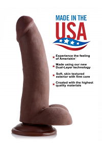 8 Inch Ultra Real Dual Layer Suction Cup Dildo – Dark Skin Tone